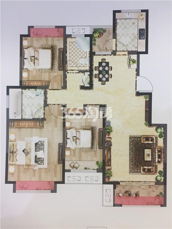 荣耀府119㎡三房两厅两卫户型图