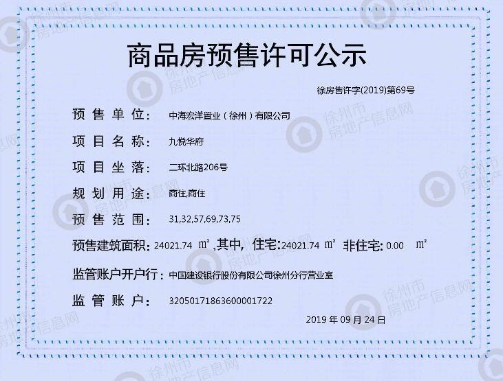 万科弘阳结庐31、32、57、69、73、75#预售证