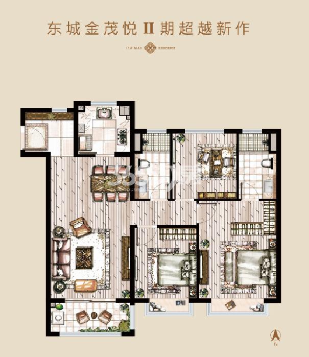 东城金茂悦Ⅱ期建面约119㎡三室两厅两卫户型图