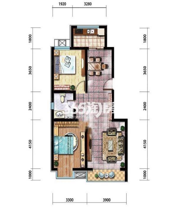 91平米两室两厅一卫