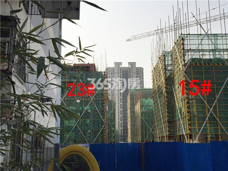 绿地理想城悦湖公馆在建23、15#楼实景图(2.18)