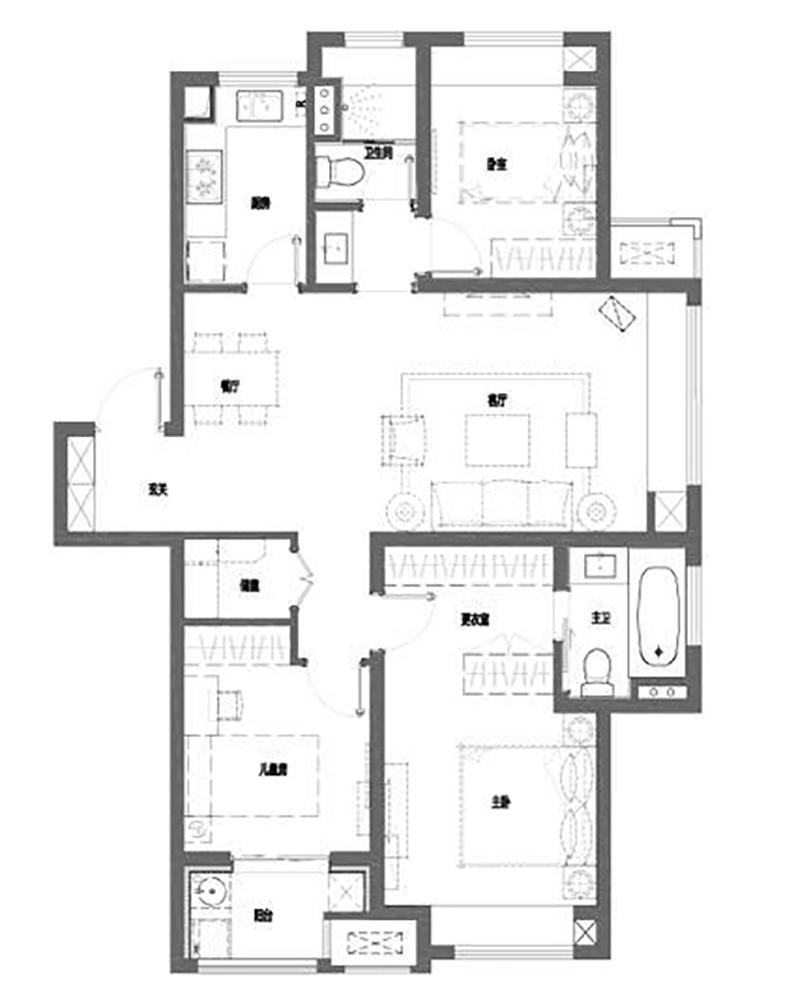 户型120㎡三室两厅两卫