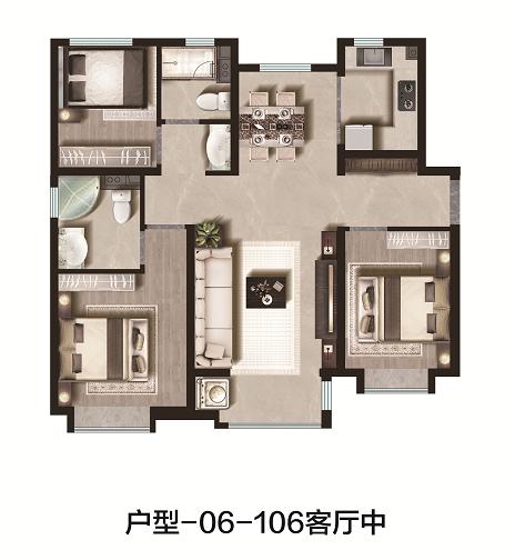 106平米 3室2厅2卫 中户