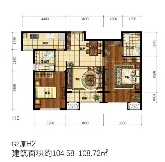 彩苑两室两厅两卫104.58-108.72㎡