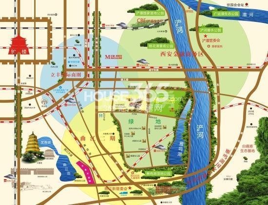 绿地与湖交通图
