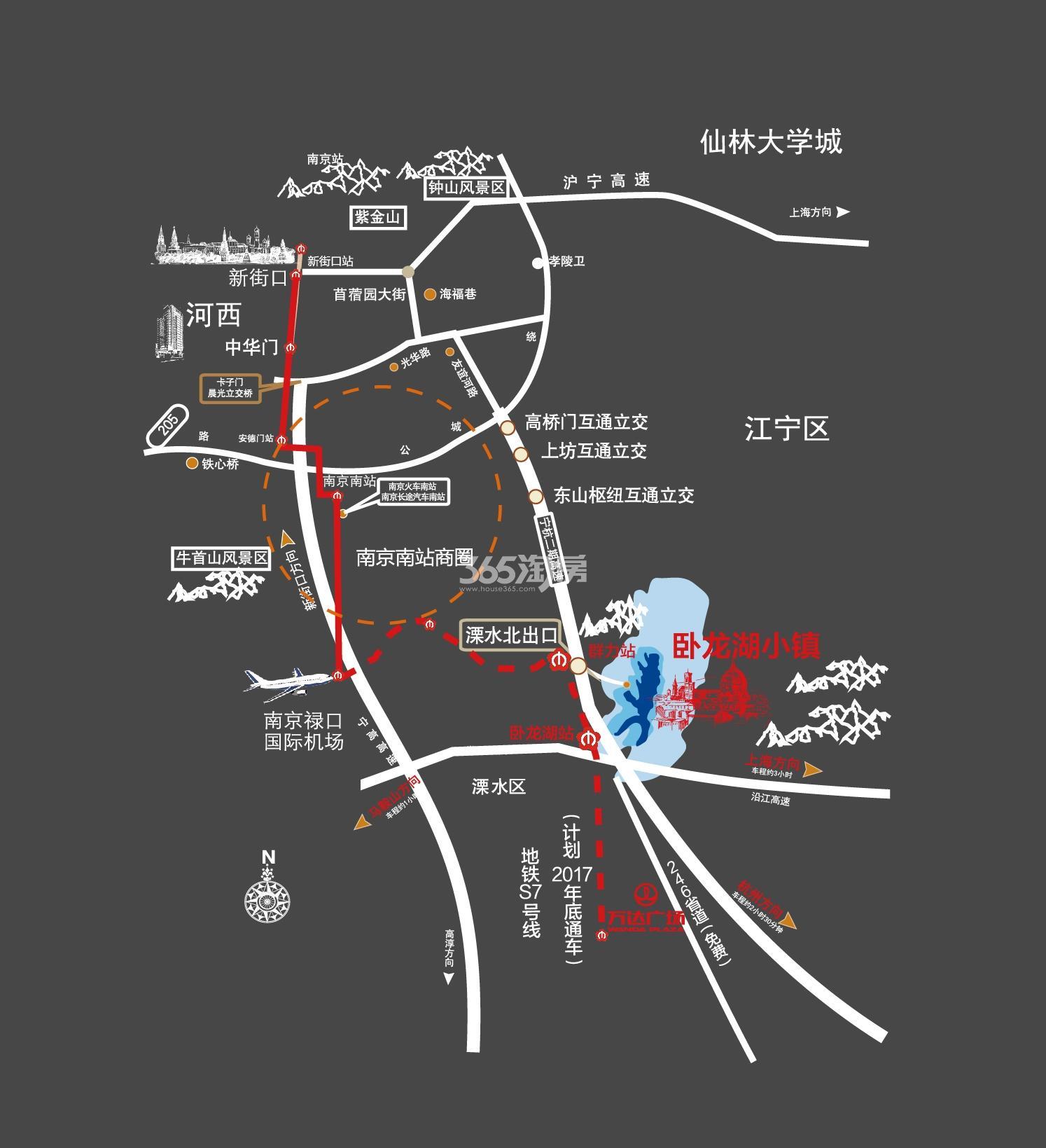 卧龙湖小镇交通图