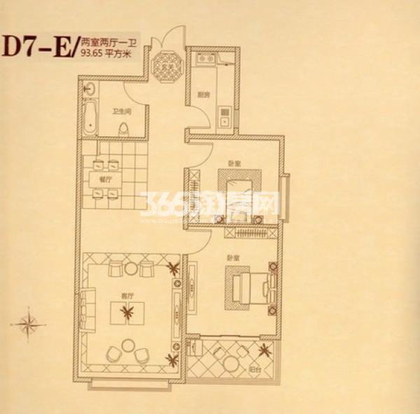 瑞城两室两厅一卫93.65㎡