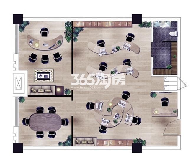 绿地缤纷广场项目60㎡办公户型图