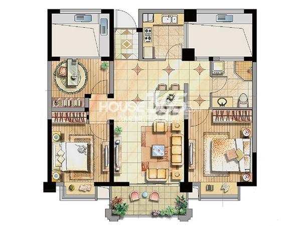 公寓1号楼标准层A2户型