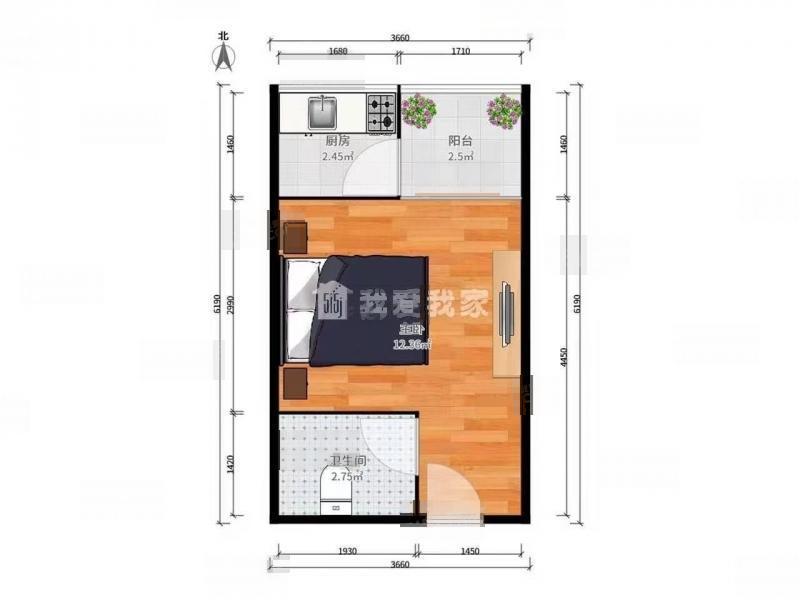 栖霞区仙林康桥圣菲1室1厅户型图