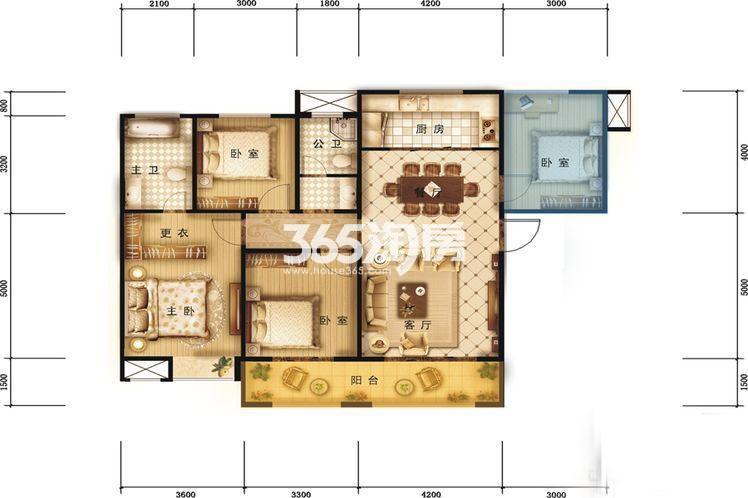 德杰国际城1#楼3室2厅2卫1厨128㎡