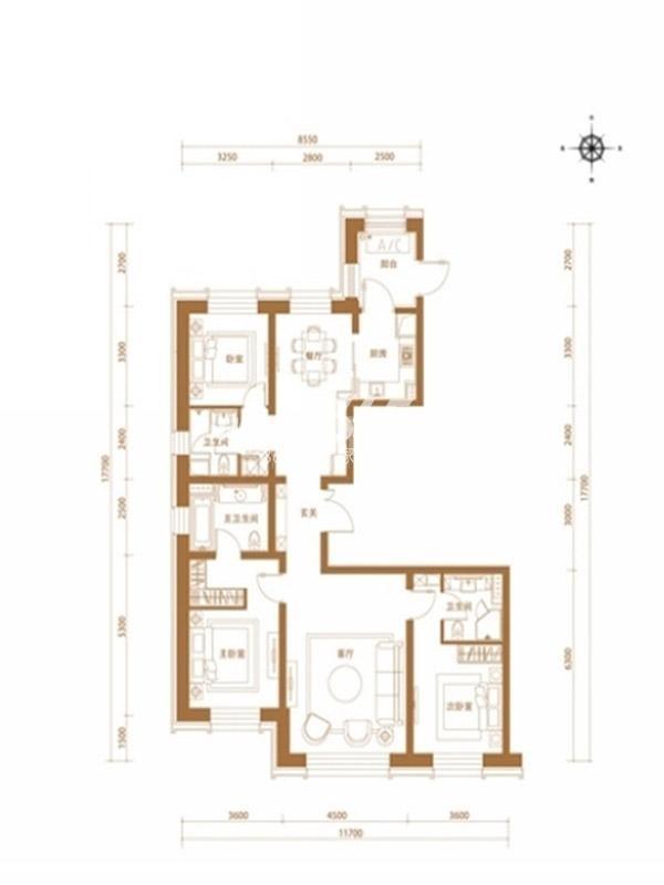 沈阳嘉里中心雅颂居 三室两厅三卫一厨 180平米 户型图