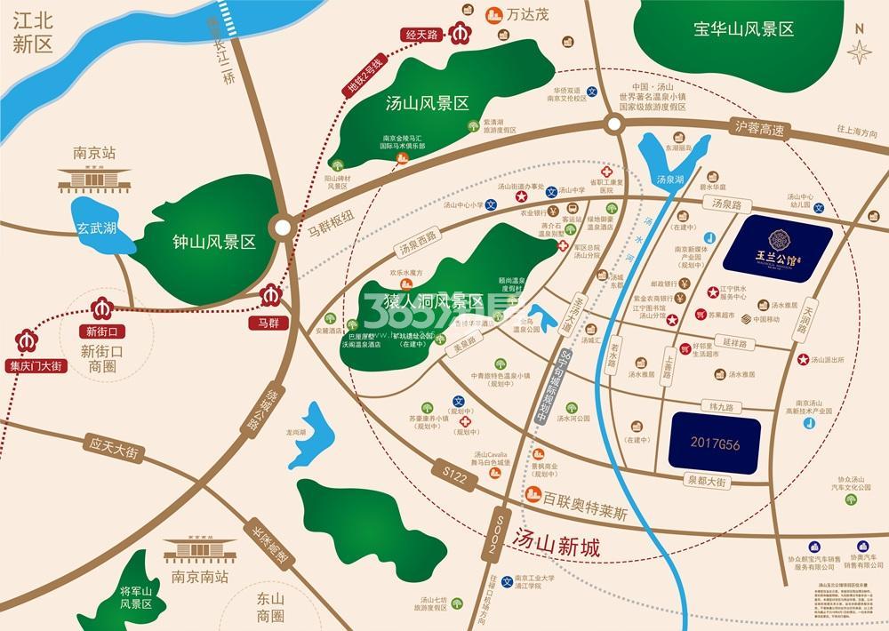 汤山玉兰公馆交通图