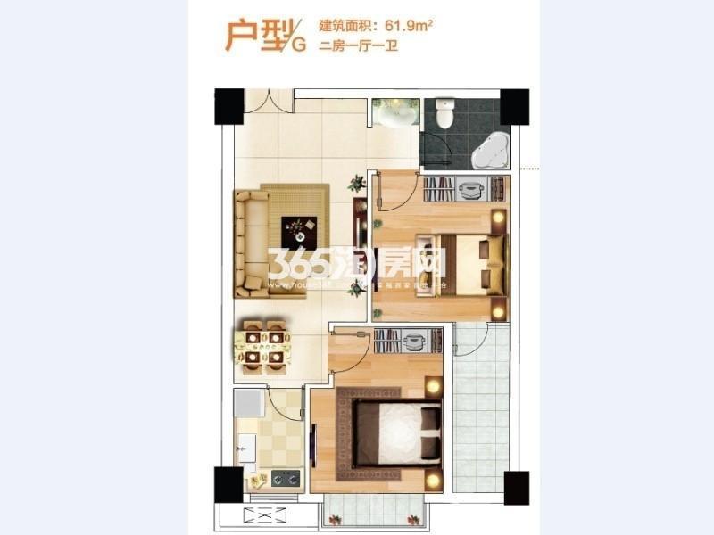 奥特莱斯V公寓2室2厅1卫1厨61.00㎡B12栋和B13A栋G户型