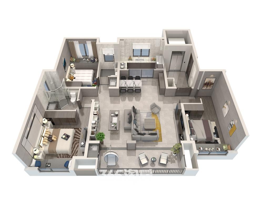 伟星万科潮起中江130平三室两厅两卫户型图理想之洲