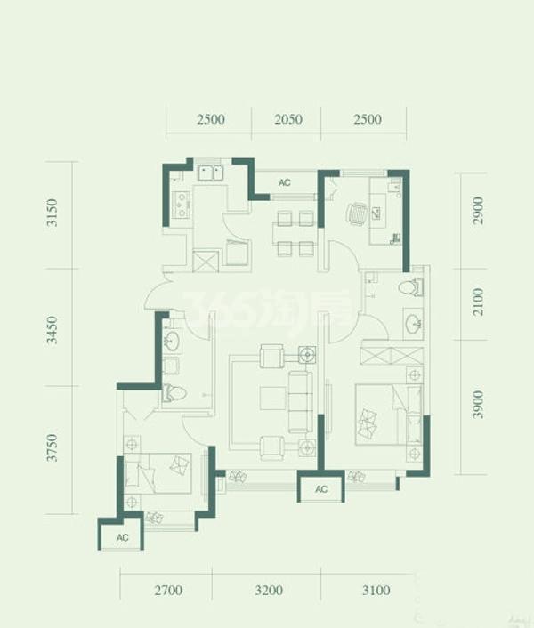 A1户型, 3室2厅2卫, 约90.00平米
