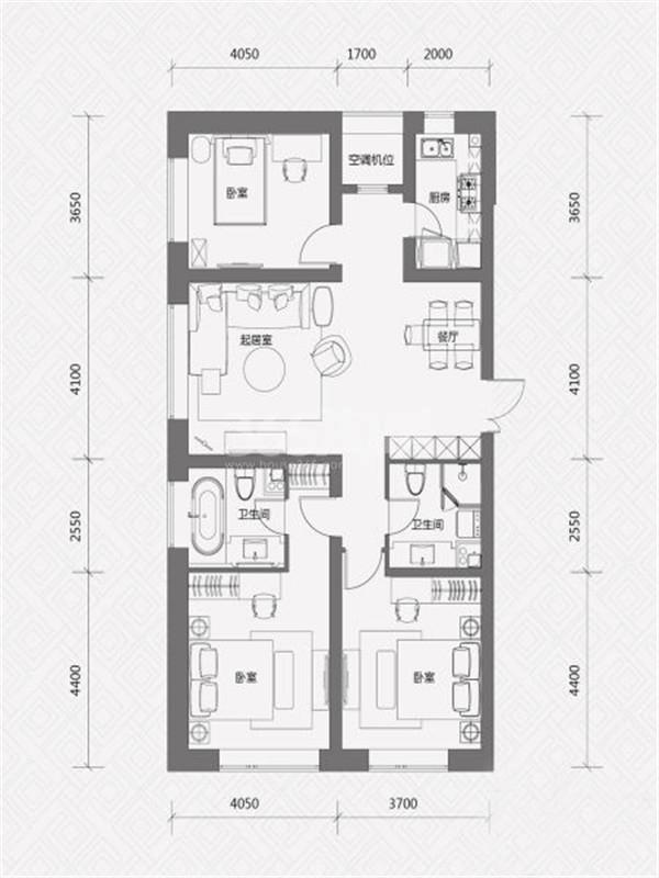 J户型, 3室2厅2卫, 约147.00平米