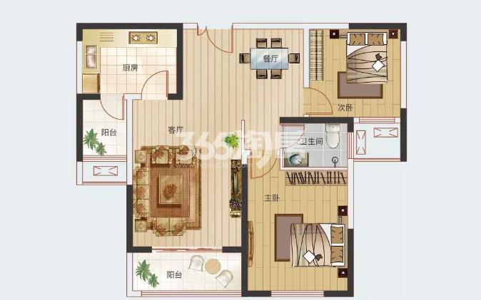 A3户型93.24㎡两室两厅一卫