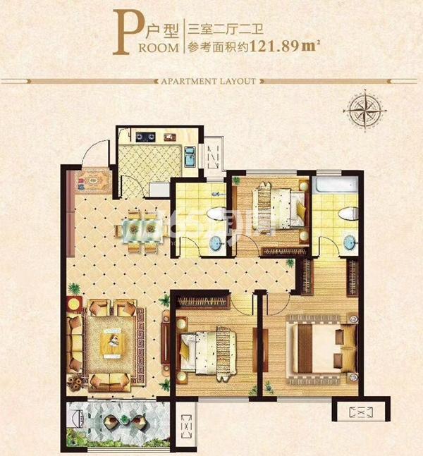 121㎡三室P户型