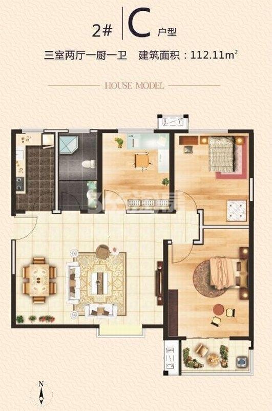 湖畔嘉园2号楼C户型三室两厅一卫112.11㎡