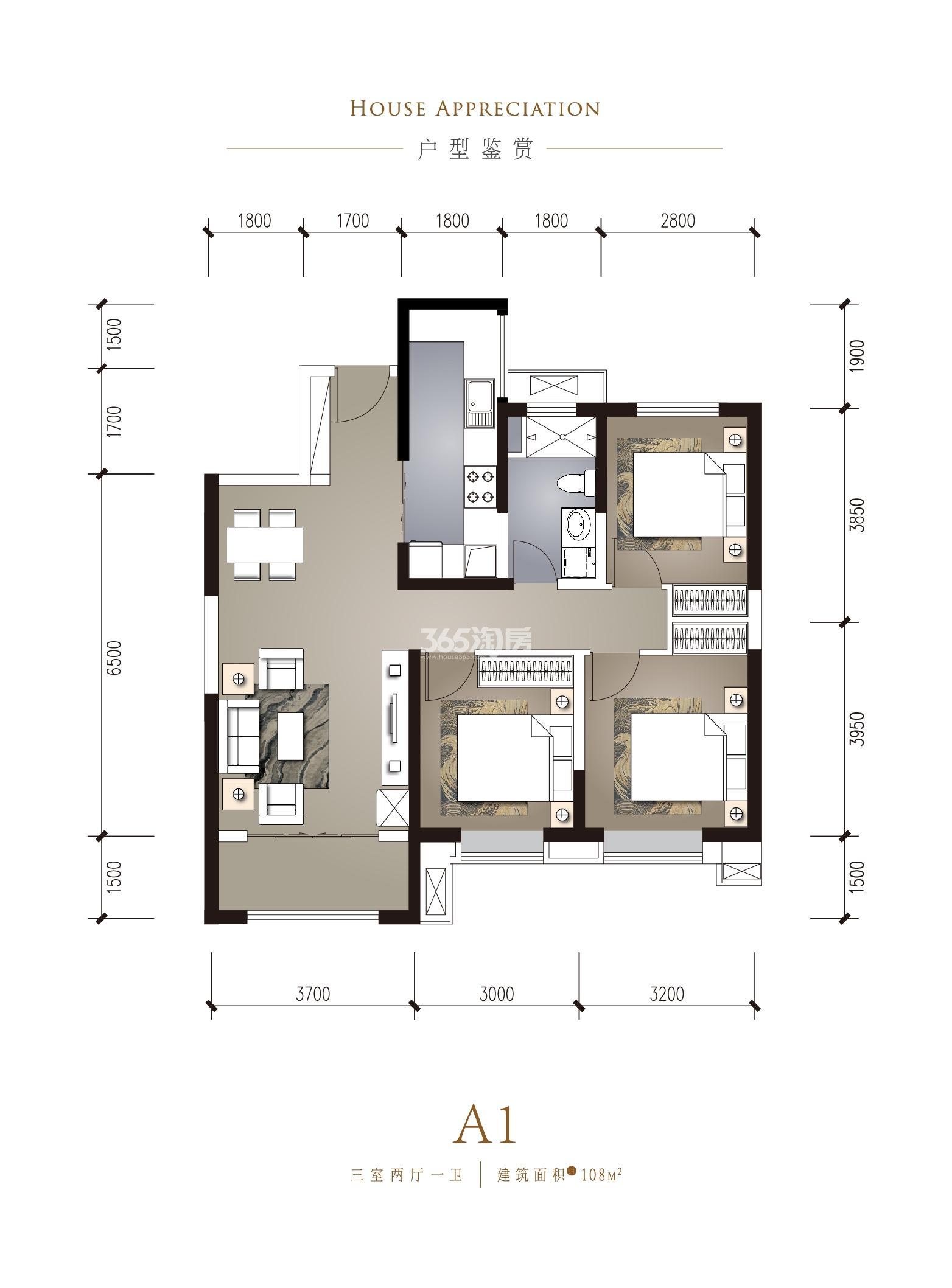 华润置地·誉澜山 三室两厅一卫 建筑面积约108㎡