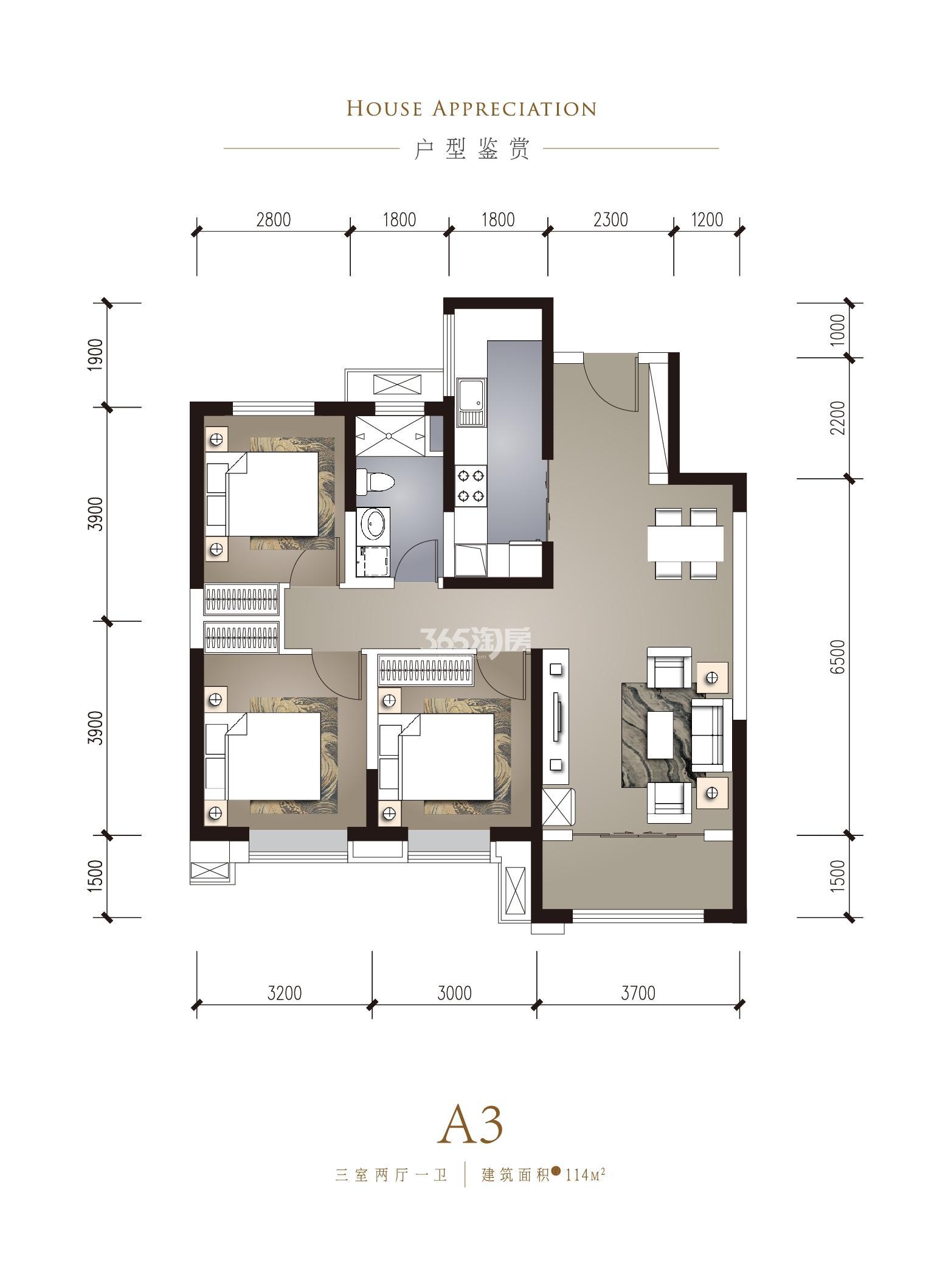 华润置地·誉澜山 三室两厅一卫 建筑面积约114㎡