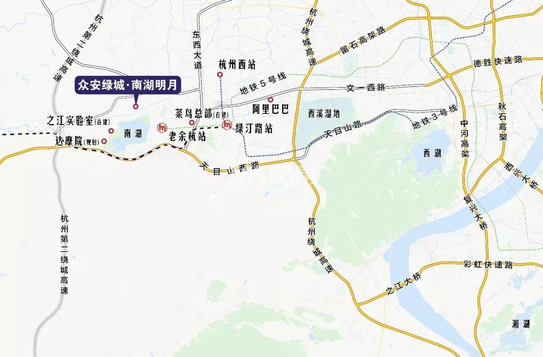 众安绿城南湖明月交通图