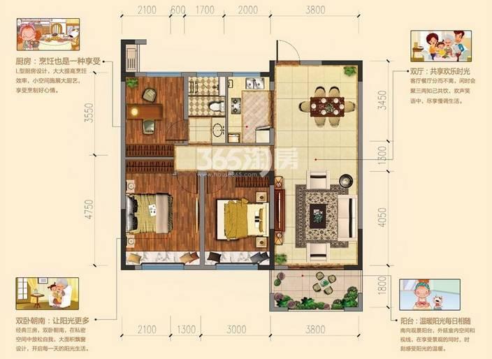 户型:3室2厅 面积:106�O