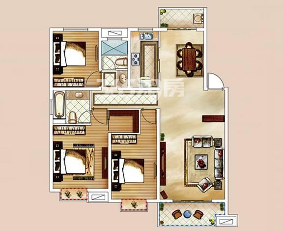户型:3室2厅 面积:123�O