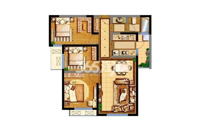德杰德裕天下15#楼3室2厅1卫1厨98.6平
