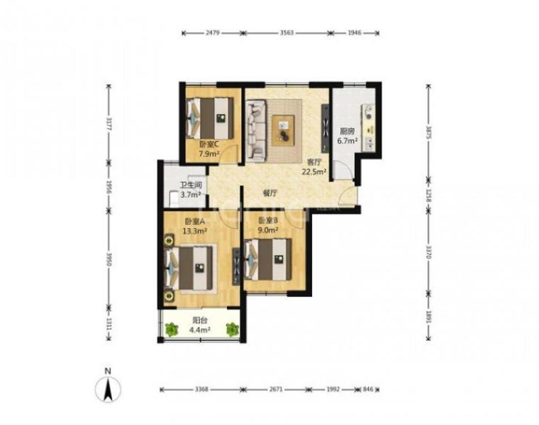 莲花新城北苑3室1厅1卫89平米2010年产权房精装