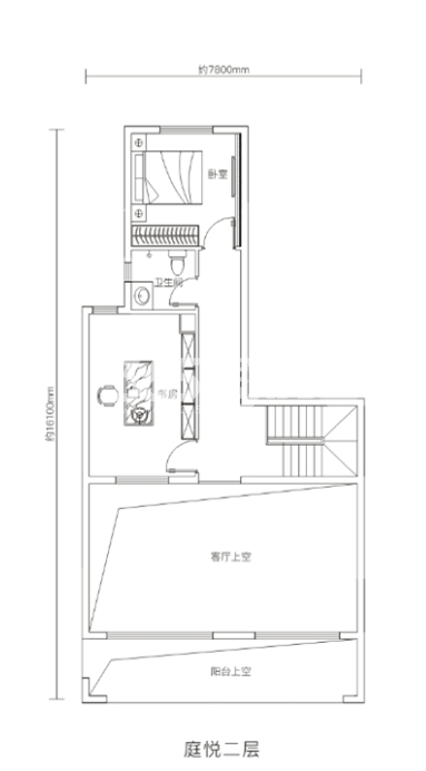 万科悦湾167㎡复式洋房二层户型图