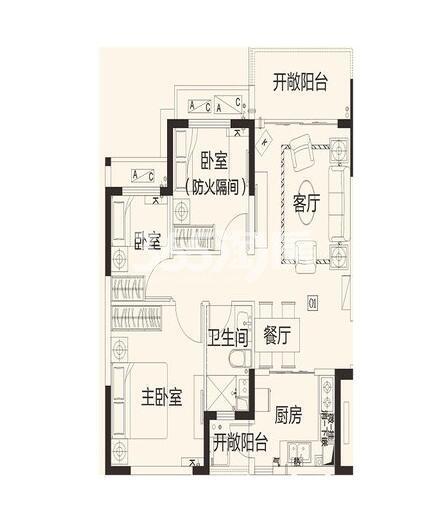 恒大翡翠龙庭8#2单元01户3室2厅1卫1厨89.42㎡