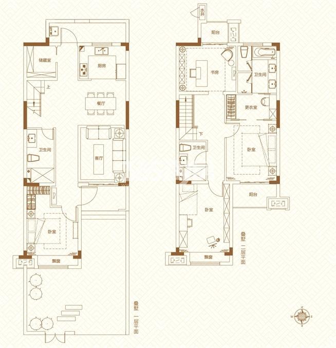 鸿坤理想城 叠墅下部分  建筑面积约150平方