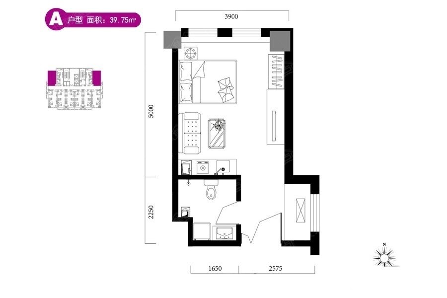 A户型39.75平米 1是1厅1卫