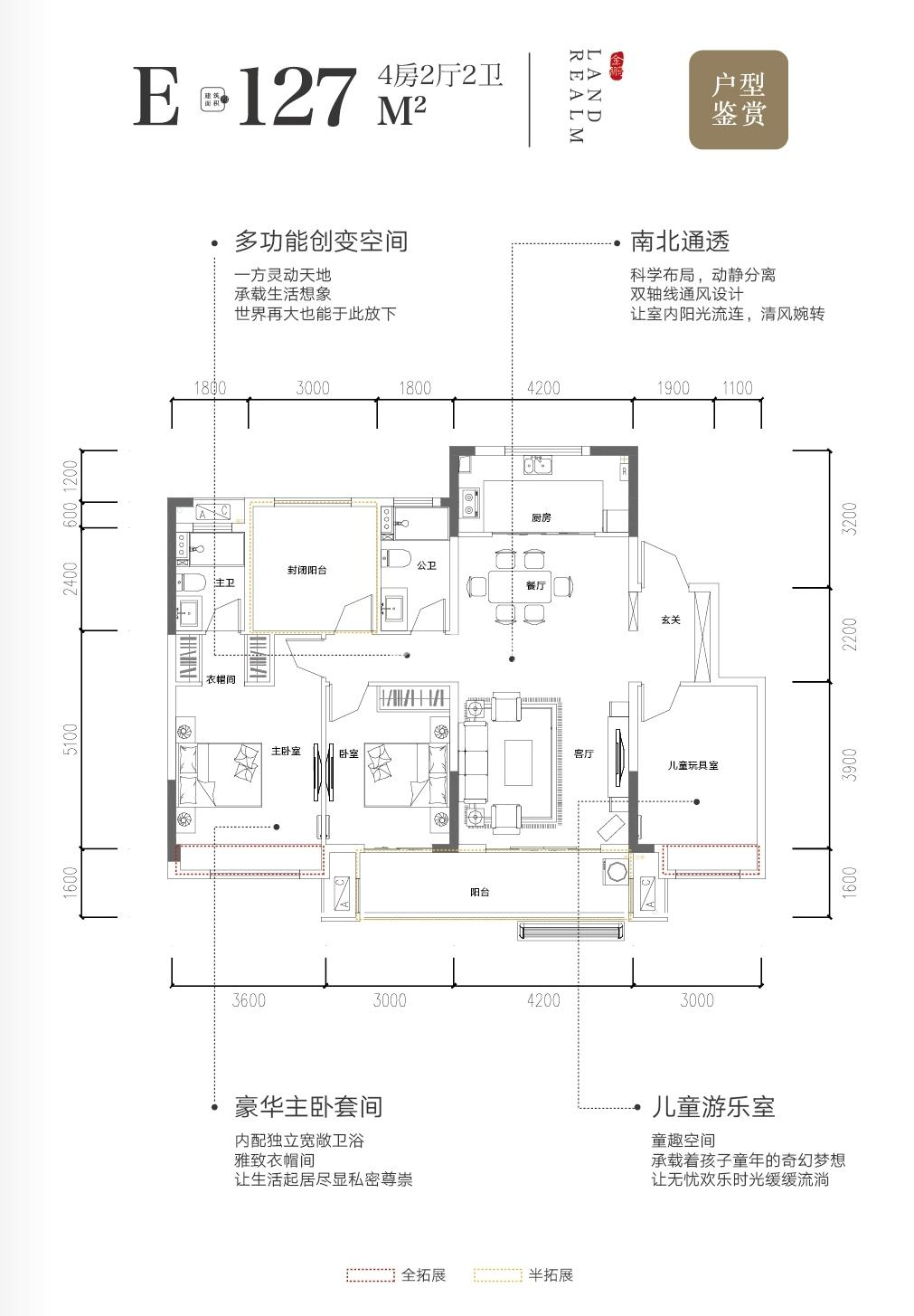 山河赋127㎡四房两厅两卫E户型图