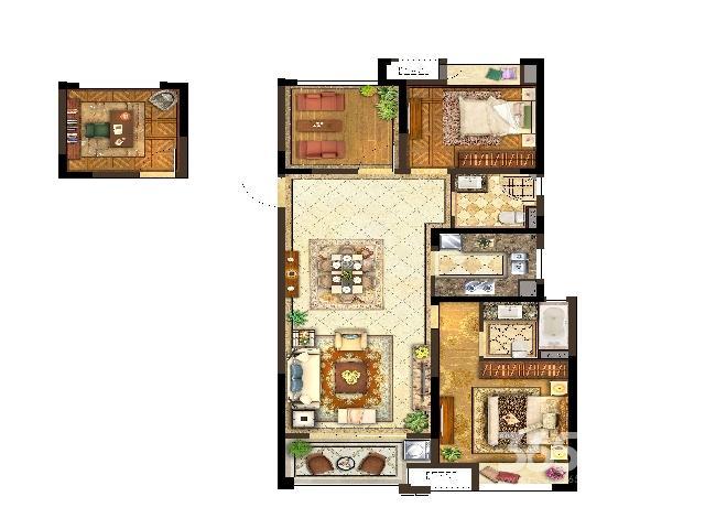 保利公园九里,3室2厅2卫,105㎡毛坯,无贷款,未满两年
