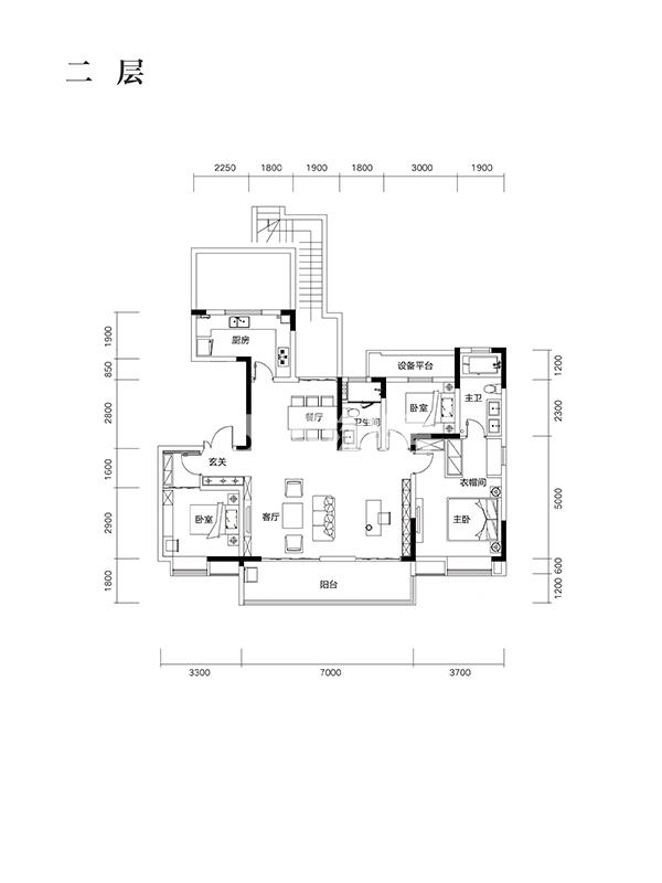 望江台Y30户型146㎡之二层户型图