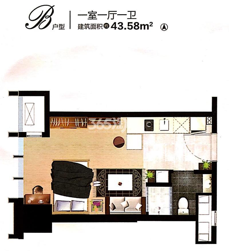 宝能城约43.58平B户型公寓