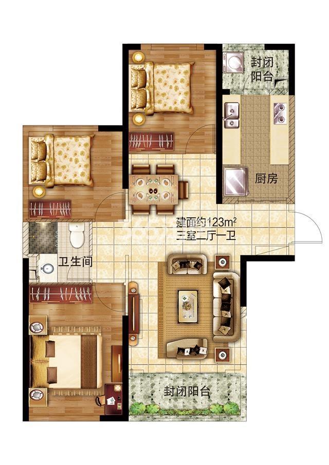 39#三室两厅一卫123㎡