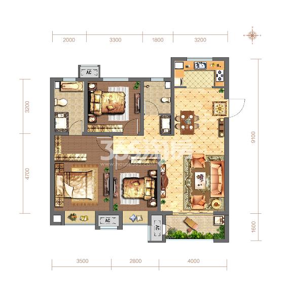当代嘉宝公园悦MOMΛ118平方米3室2厅2卫