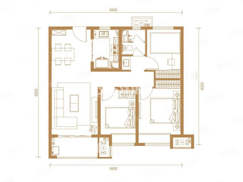 中南上悦城三室两厅99㎡户型图