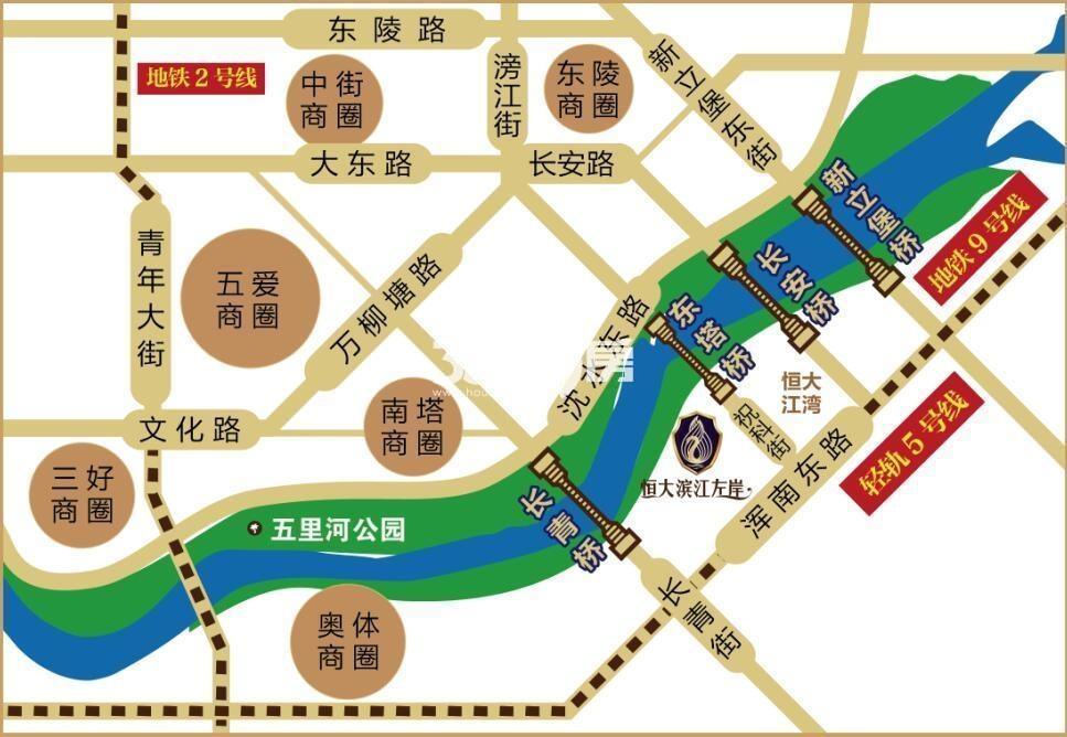 恒大滨江左岸交通图