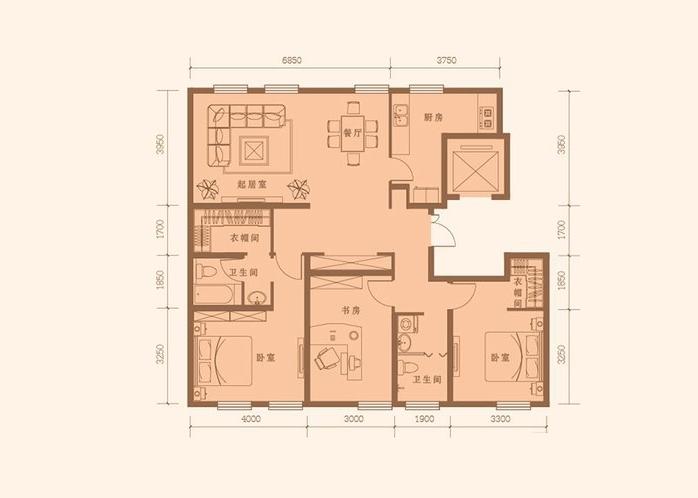 150平米 3室2厅2卫