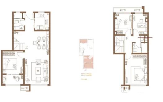 复式C户型, 4室2厅2卫1厨