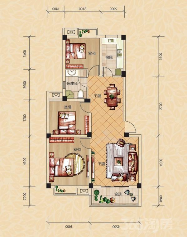 家和园3室1厅1卫95平米整租毛坯