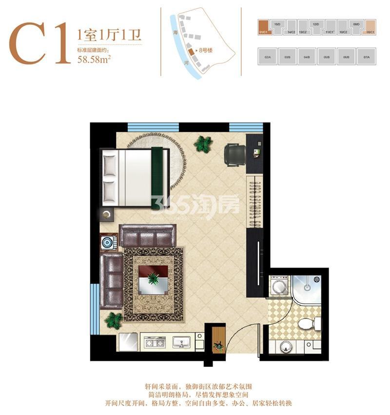 公寓C1户型 58.58平米