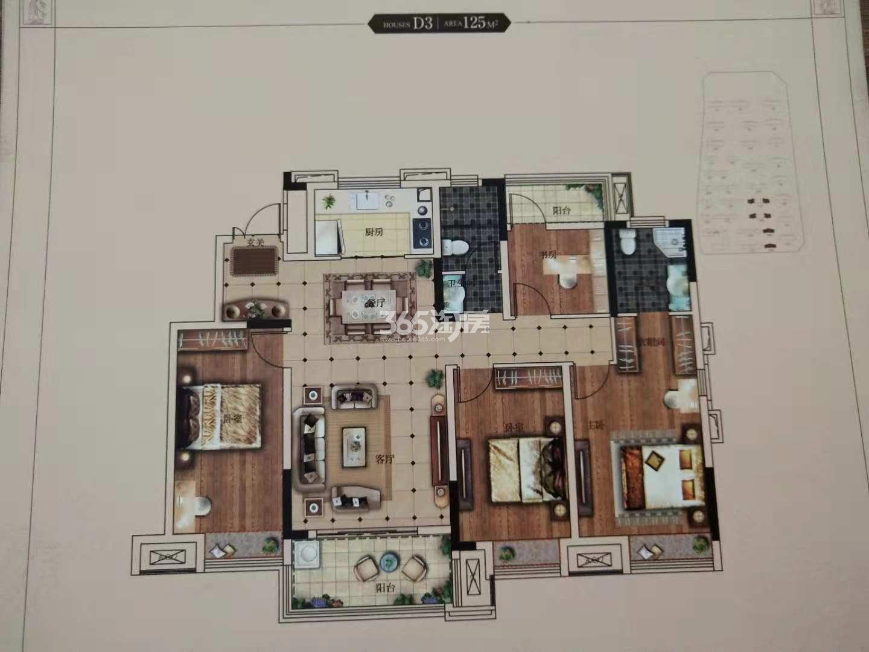 安庆高速时代公馆四室两厅两卫125㎡D3户型图