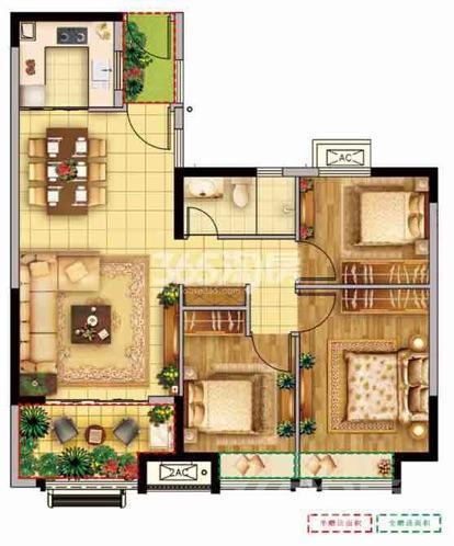 燕山国际城2室1厅1卫89平米毛坯