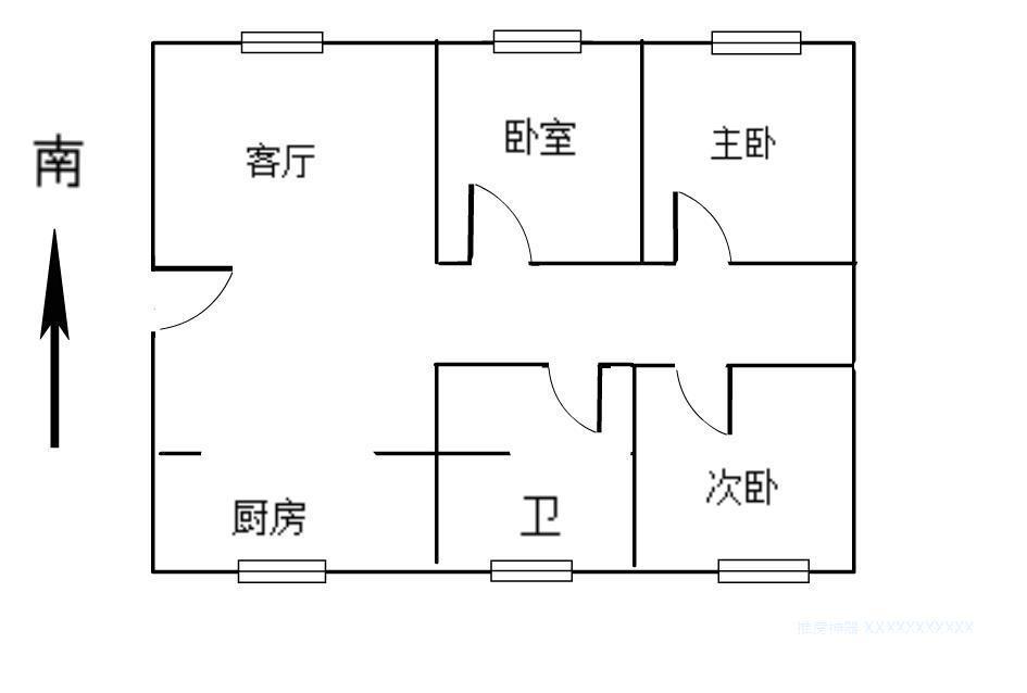 江宁区岔路口天地新城天心座3室2厅户型图